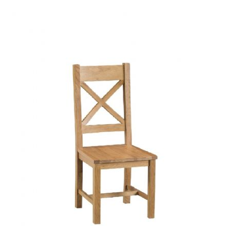 Oslo Oak Cross Back Chair with Wooden Seat